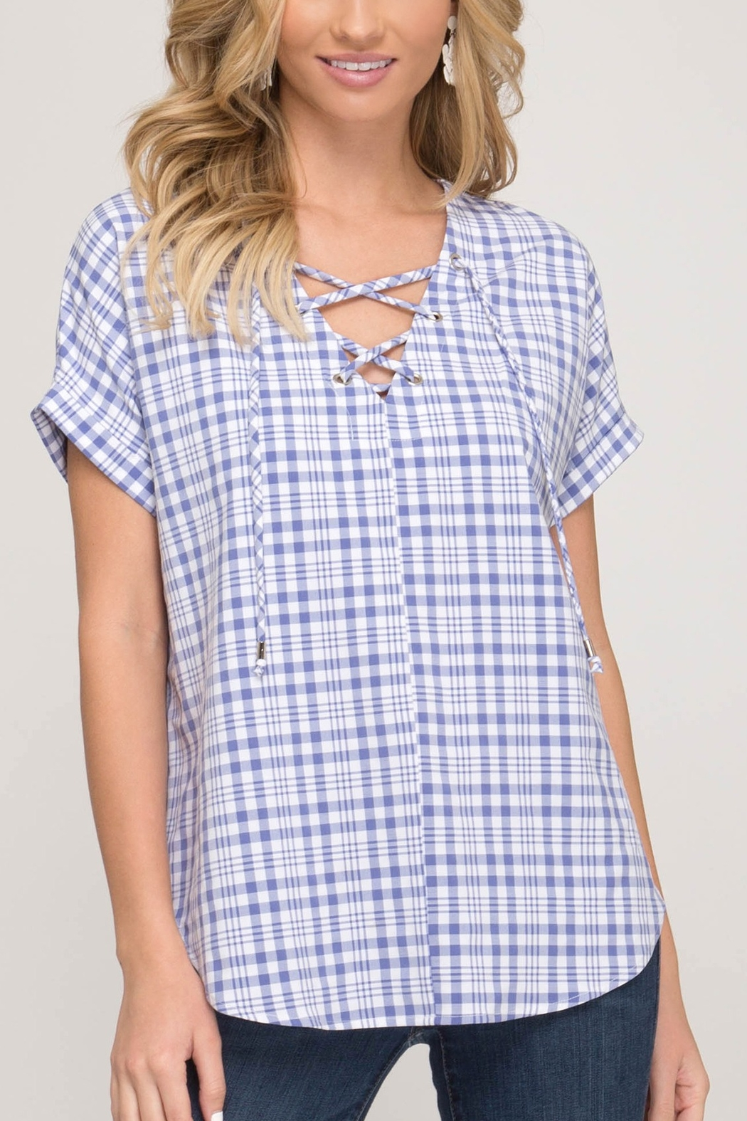 She & Sky  Gingham Lace Up Top - Front Cropped Image
