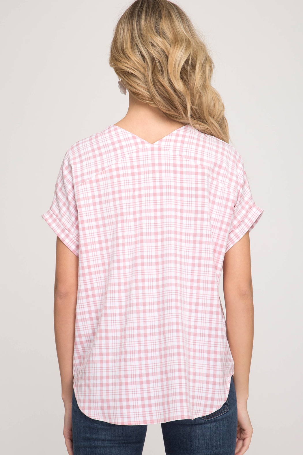 She & Sky  Gingham Lace Up Top - Front Full Image