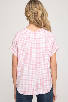 She & Sky  Gingham Lace Up Top - Alternate List Image