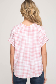 She & Sky  Gingham Lace Up Top - Front full body