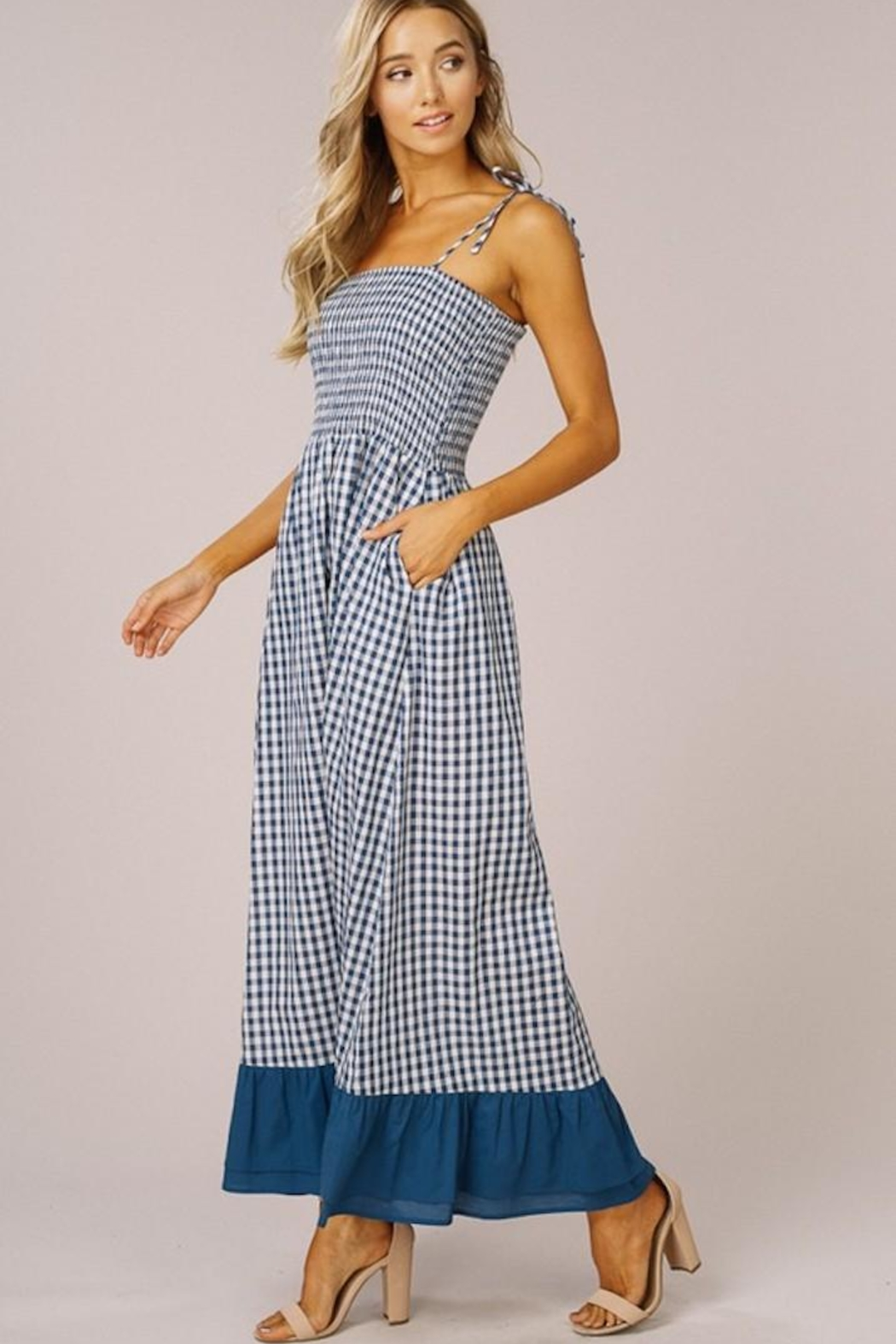 Listicle Gingham Maxi Dress - Back Cropped Image