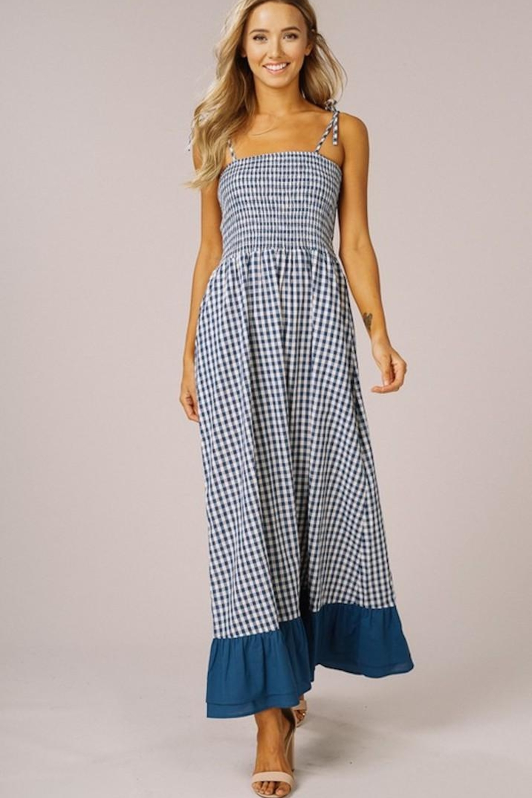 Listicle Gingham Maxi Dress - Front Full Image