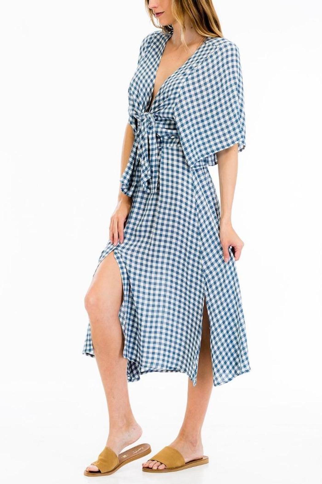 Olivaceous Gingham Midi Dress - Front Full Image