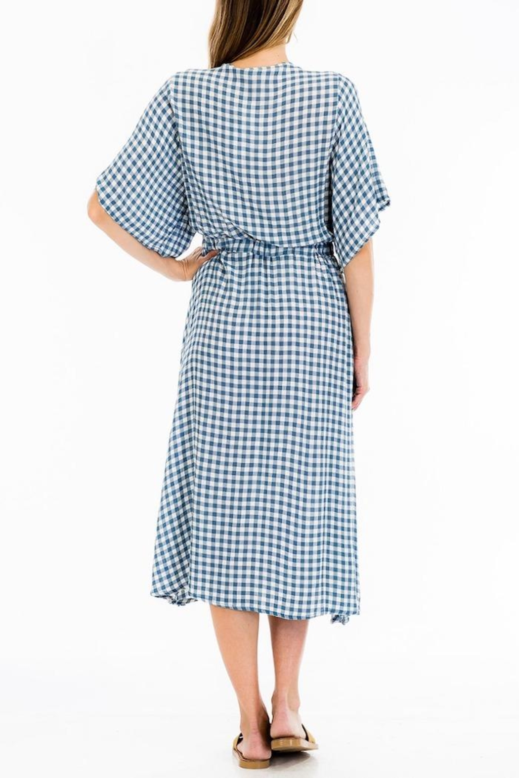 Olivaceous Gingham Midi Dress - Side Cropped Image