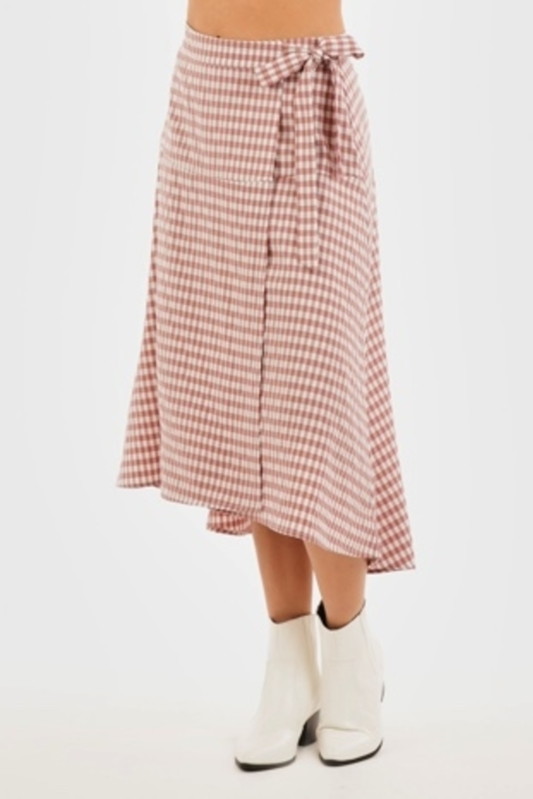 Very J Gingham Midi Wrap Skirt - Side Cropped Image