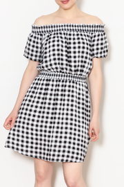 Everly Gingham Off The Shoulder Dress - Product Mini Image