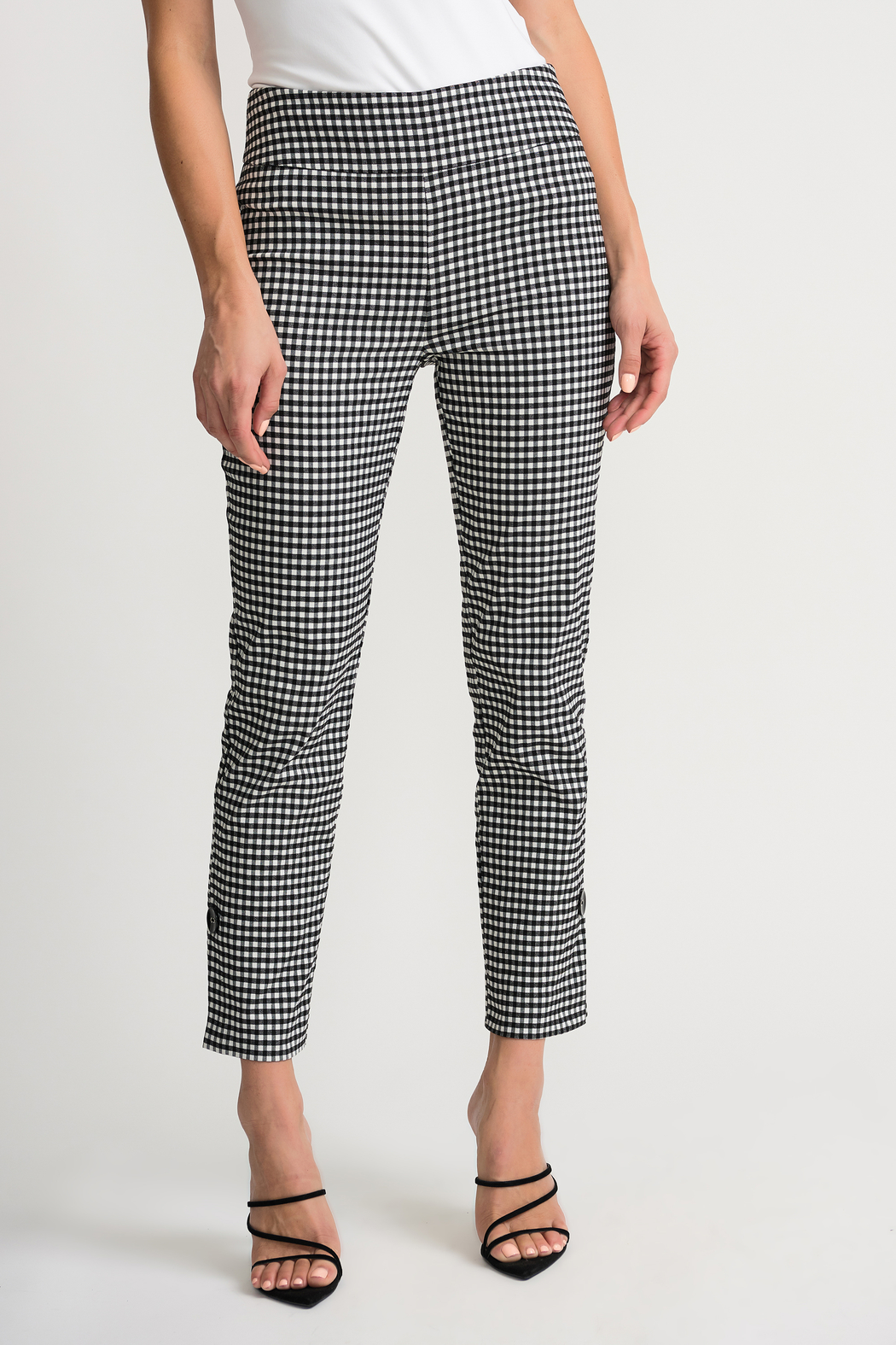 Joseph Ribkoff  Gingham Pants - Front Cropped Image