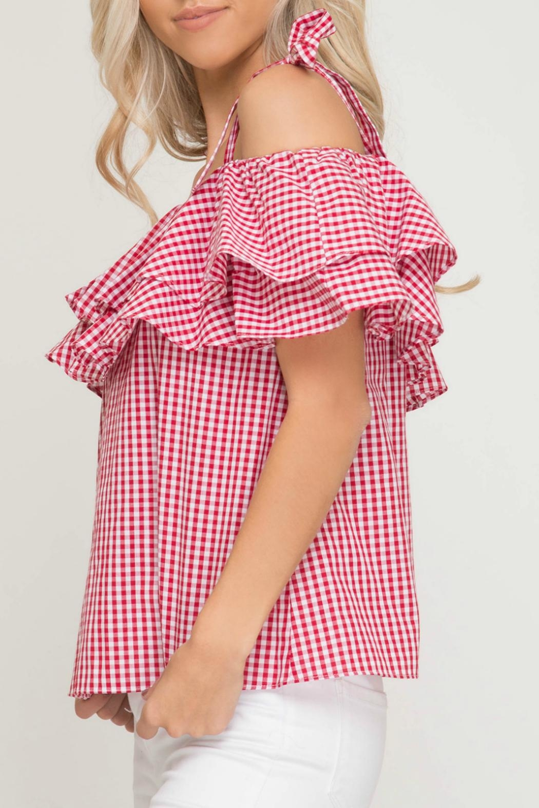 She + Sky Gingham Print Top - Side Cropped Image
