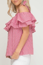 She + Sky Gingham Print Top - Side cropped