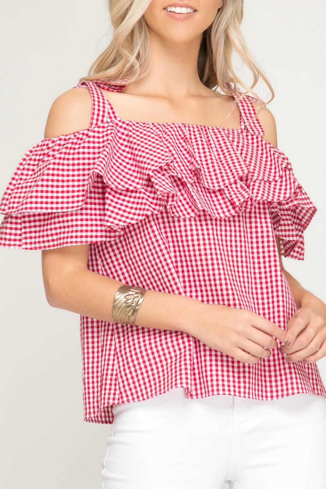 She + Sky Gingham Print Top - Front Cropped Image
