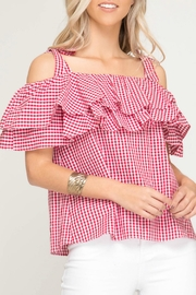 She + Sky Gingham Print Top - Front cropped