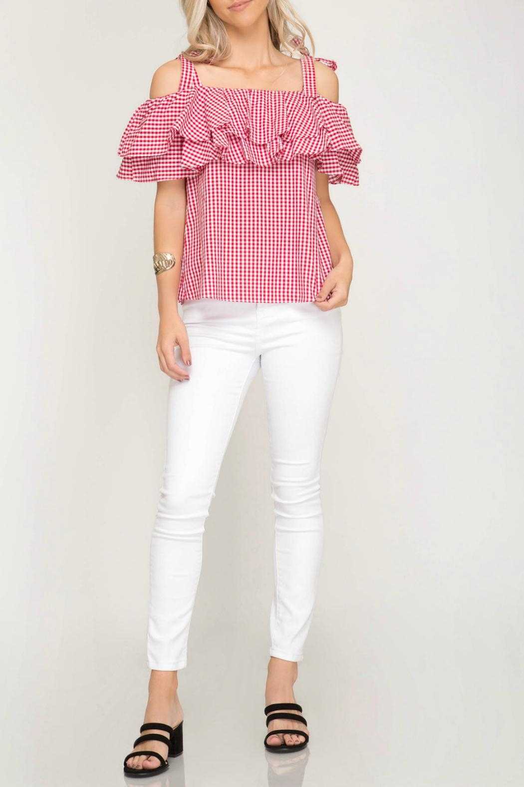 She + Sky Gingham Print Top - Back Cropped Image