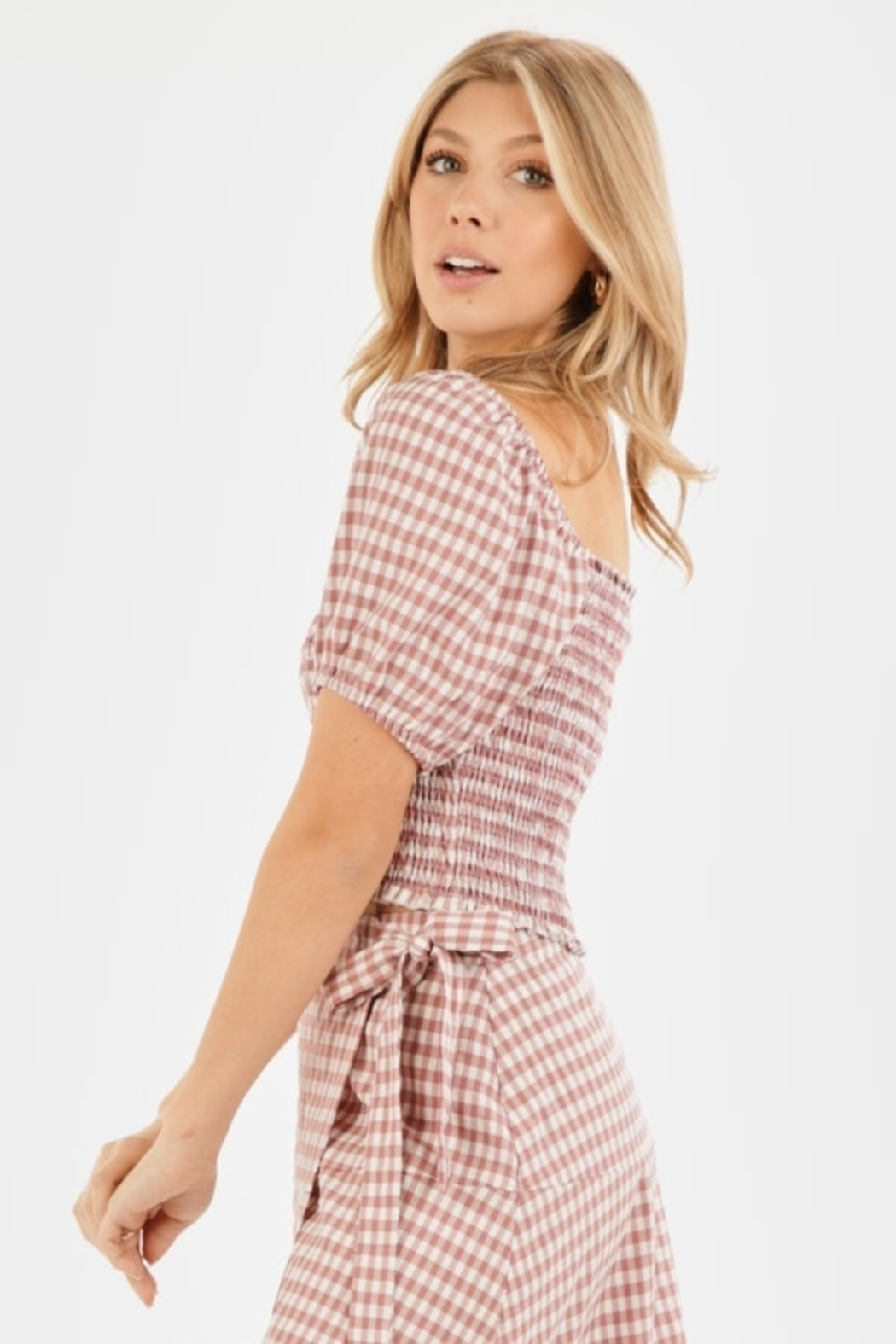 Very J Gingham Puff Sleeve Top - Front Full Image
