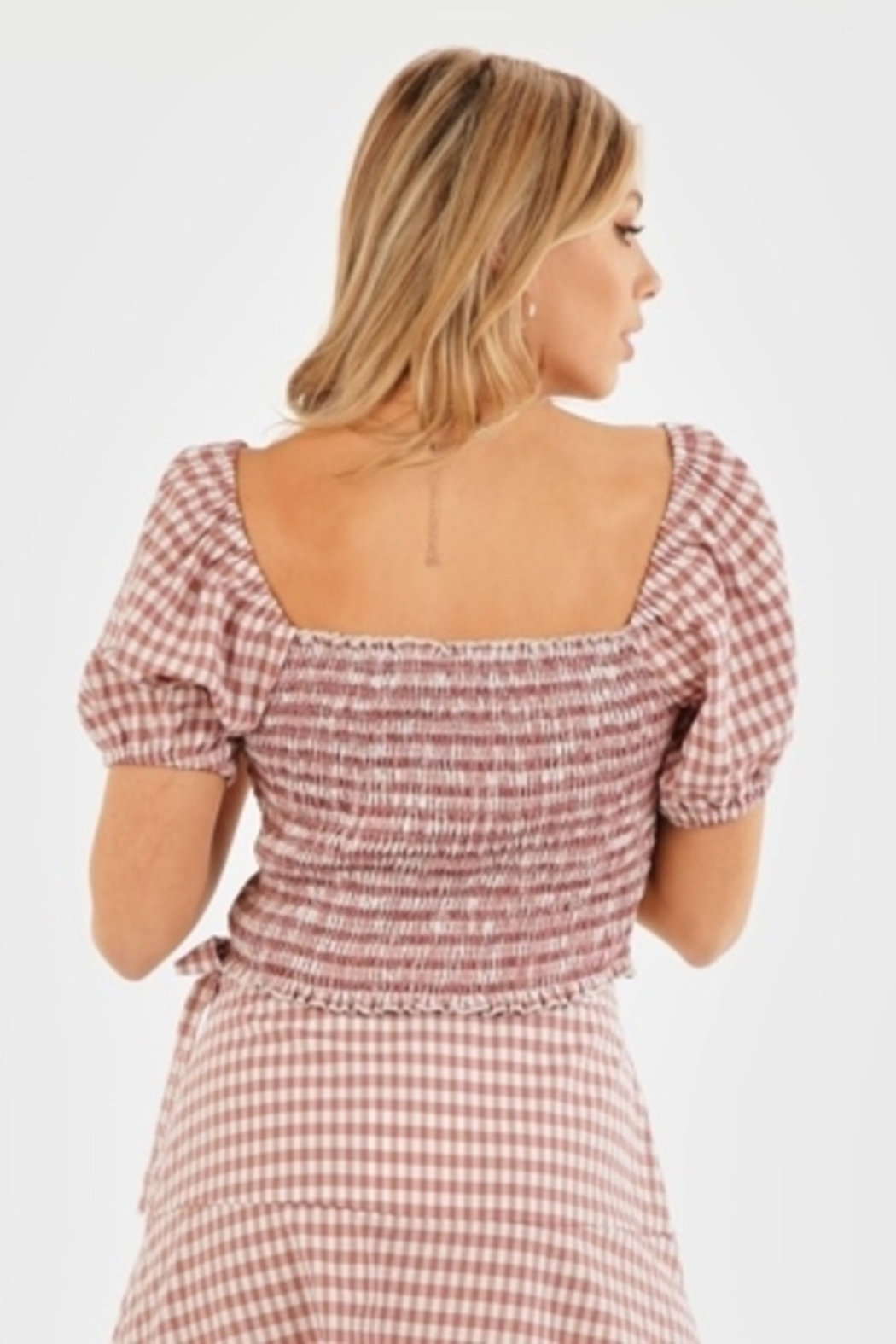 Very J Gingham Puff Sleeve Top - Side Cropped Image