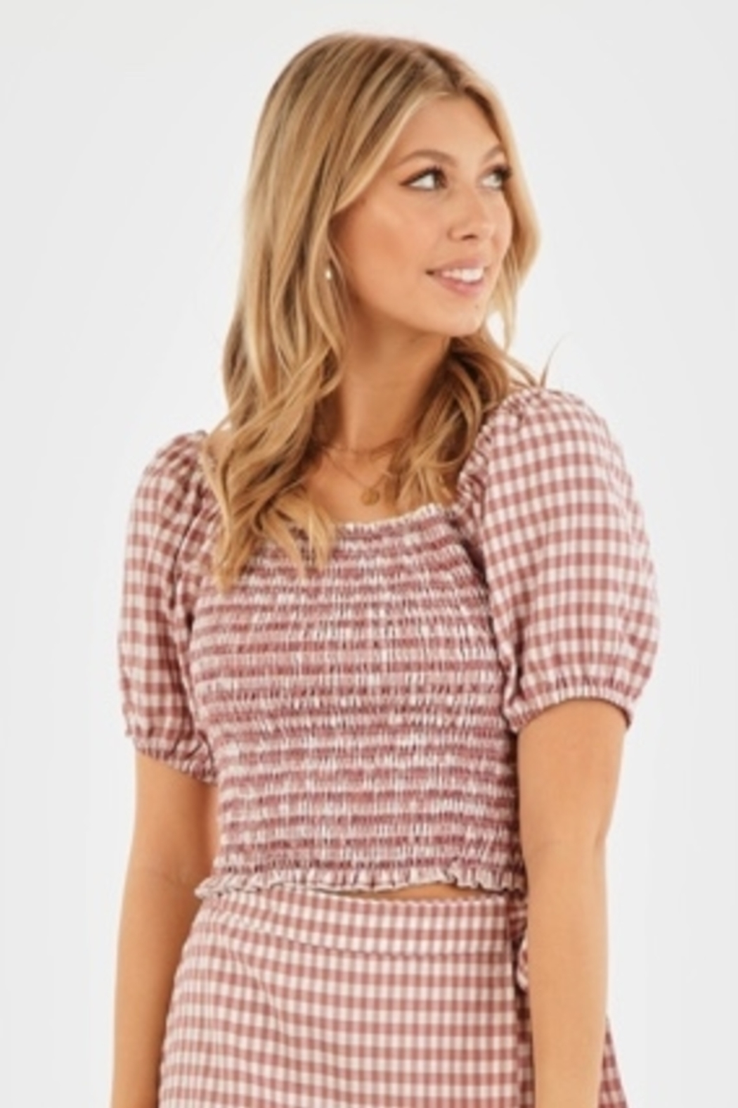 Very J Gingham Puff Sleeve Top - Back Cropped Image