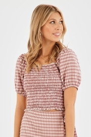 Very J Gingham Puff Sleeve Top - Back cropped