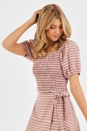 Very J Gingham Puff Sleeve Top - Front cropped
