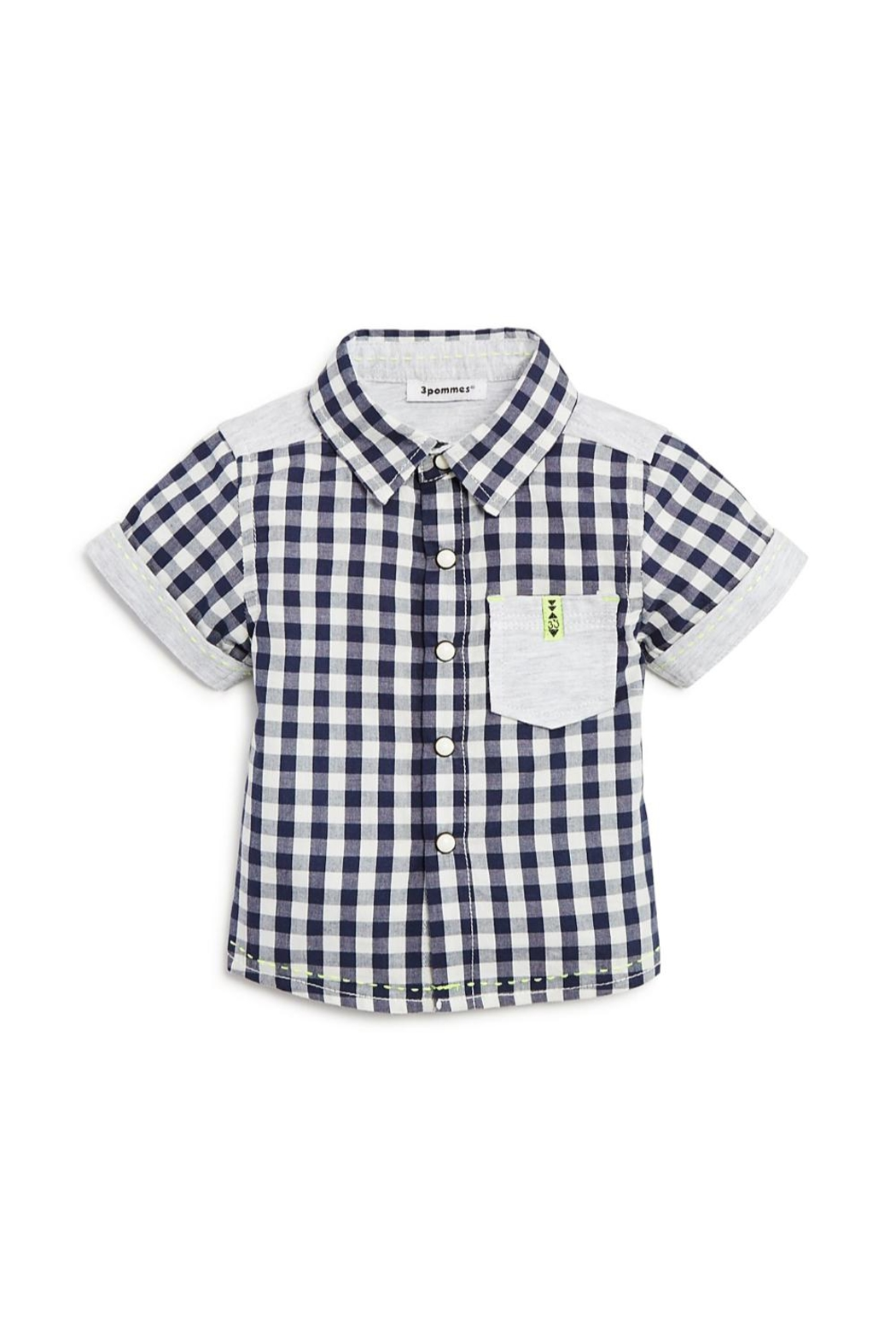 3 Pommes Gingham Short-Sleeve Shirt - Front Cropped Image