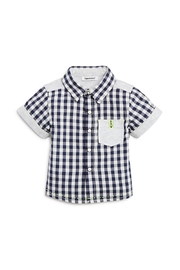 3 Pommes Gingham Short-Sleeve Shirt - Front cropped