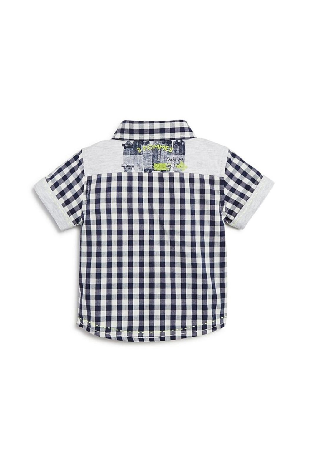 3 Pommes Gingham Short-Sleeve Shirt - Front Full Image