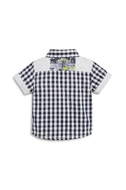 3 Pommes Gingham Short-Sleeve Shirt - Front full body