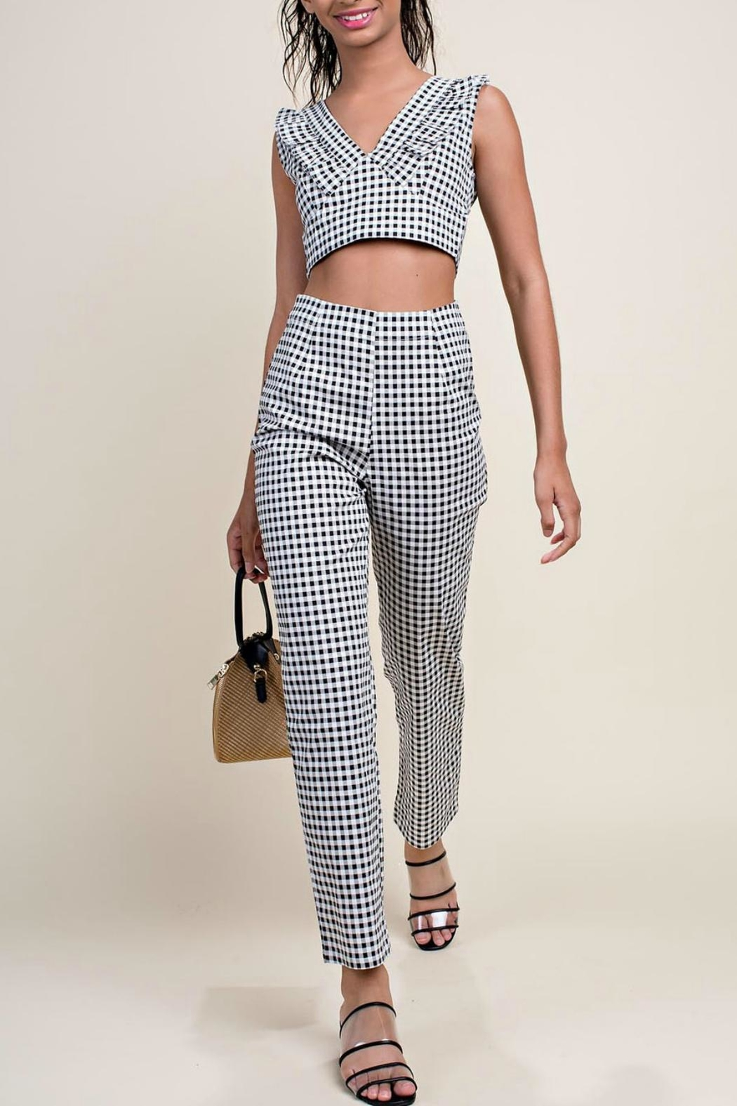 Pretty Little Things Gingham Stretch Pants - Main Image