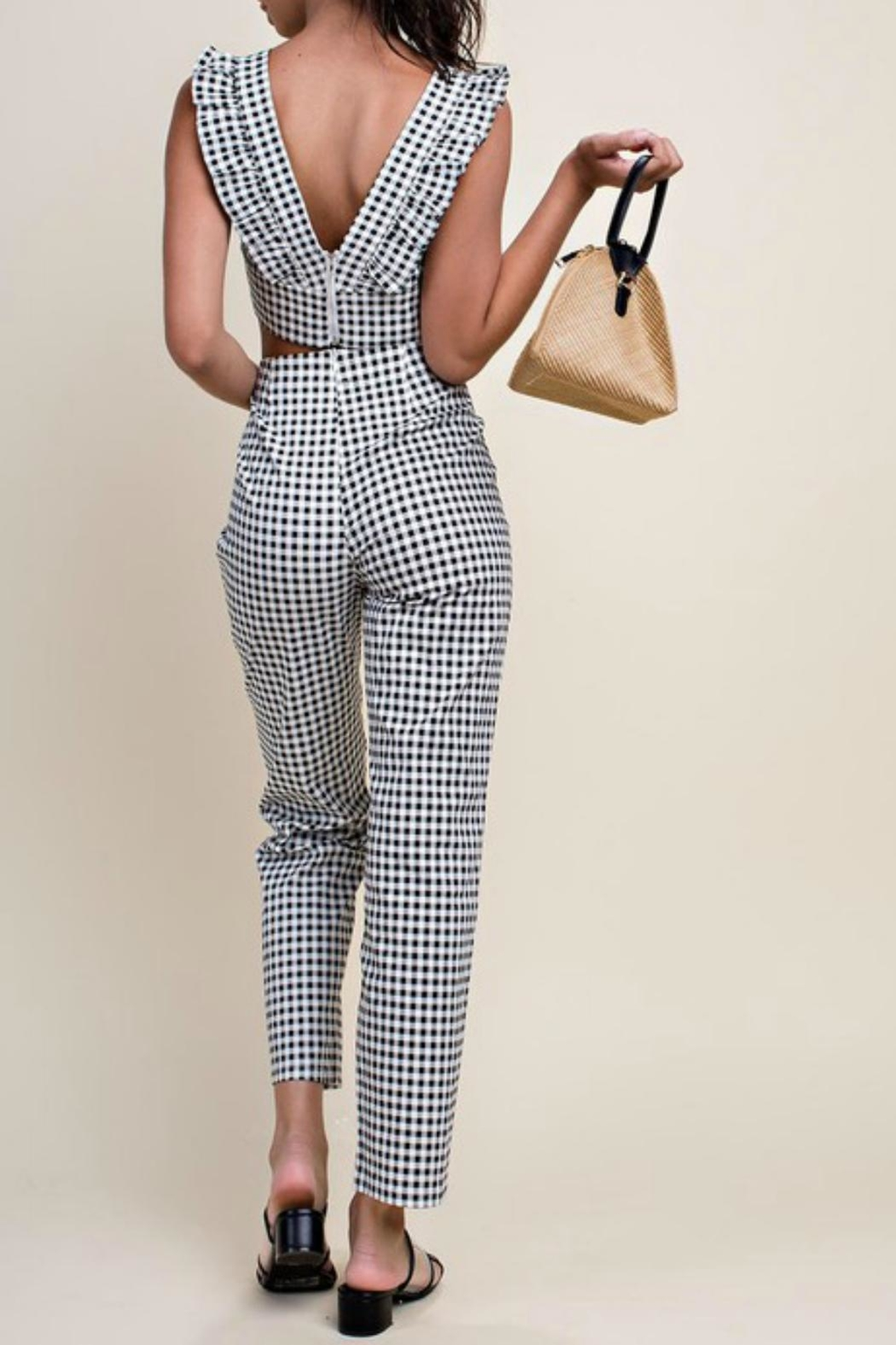 Pretty Little Things Gingham Stretch Pants - Front Full Image