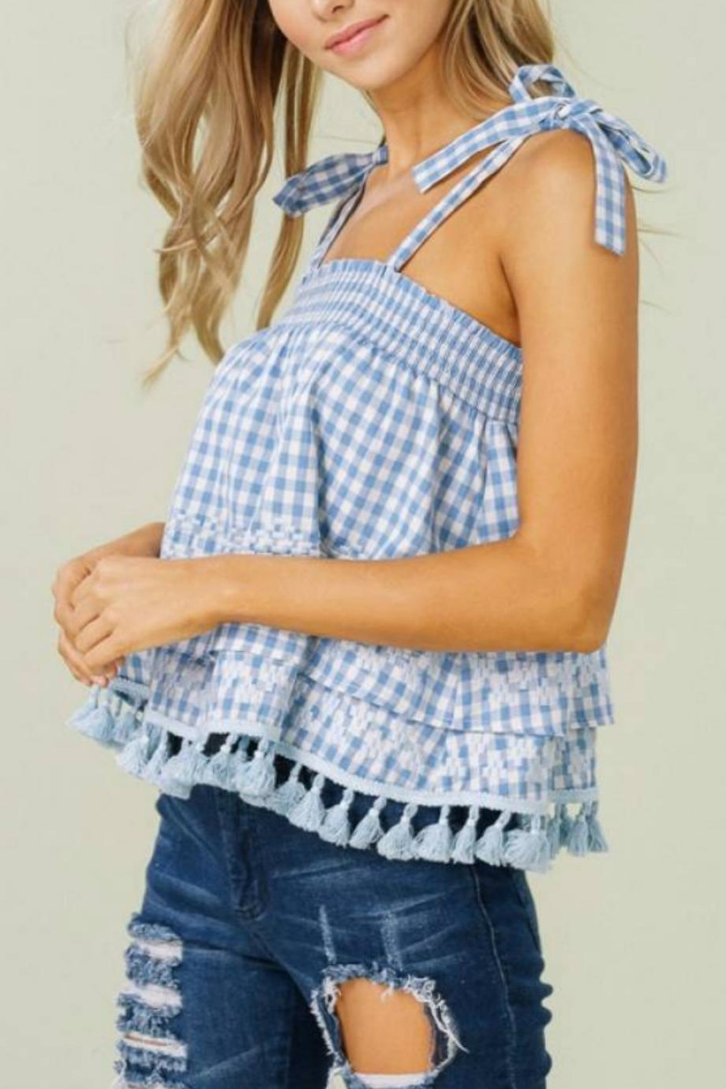 a01d775ca18 Listicle Gingham Tie-Strap Top from Statesboro by Sole — Shoptiques