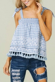 Listicle Gingham Tie-Strap Top - Product Mini Image
