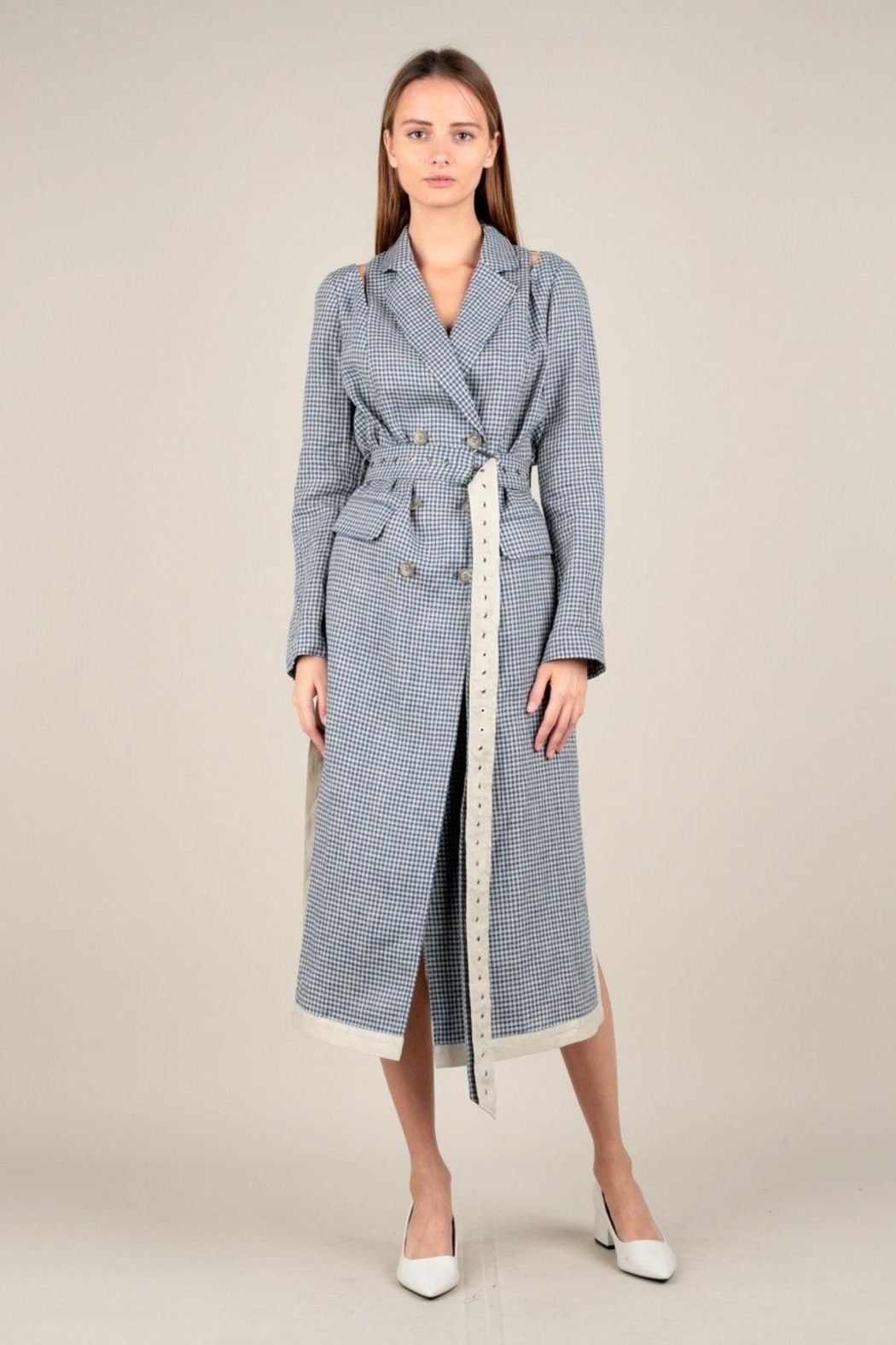 Current Air Gingham Trench Coat - Main Image