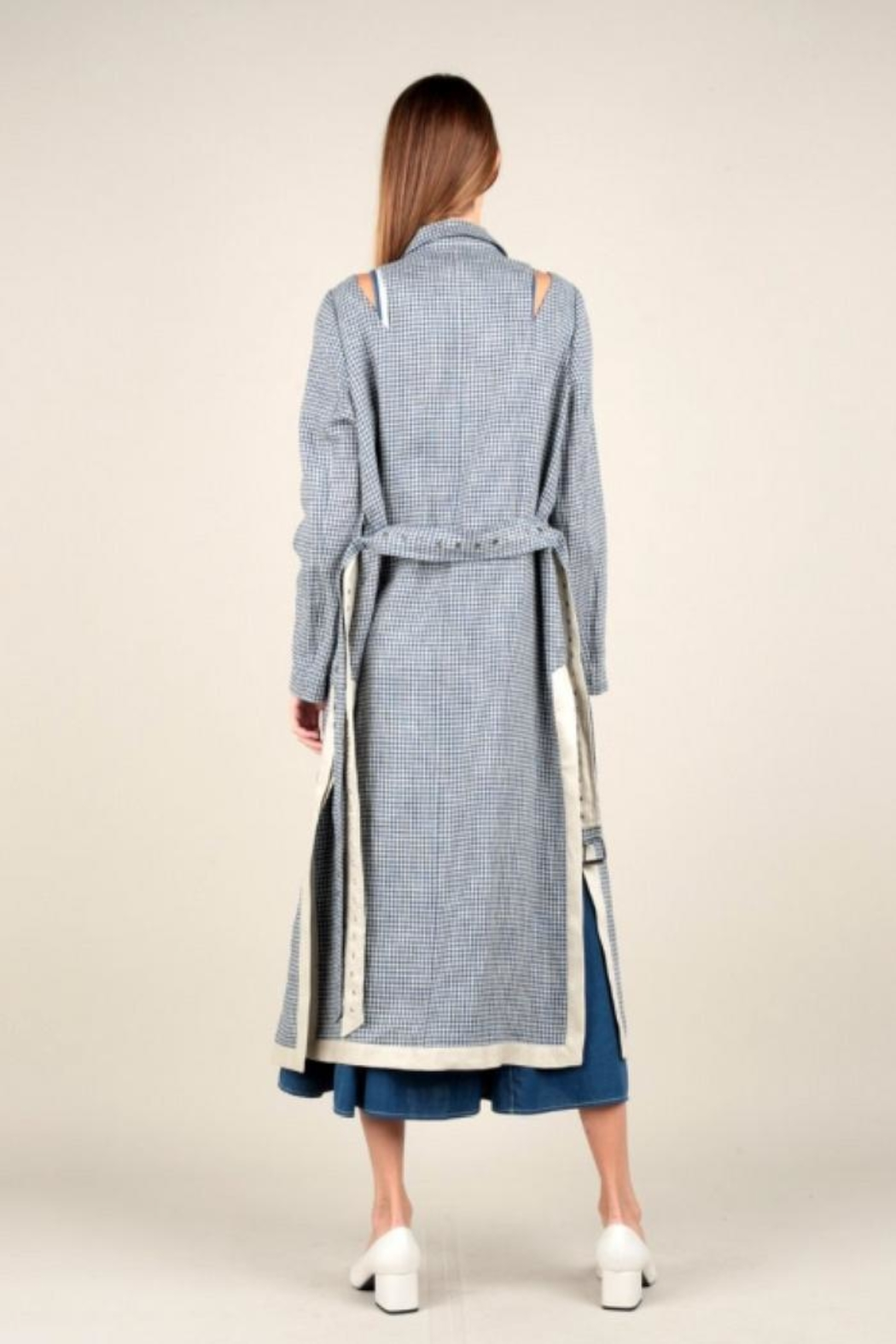 Current Air Gingham Trench Coat - Front Full Image
