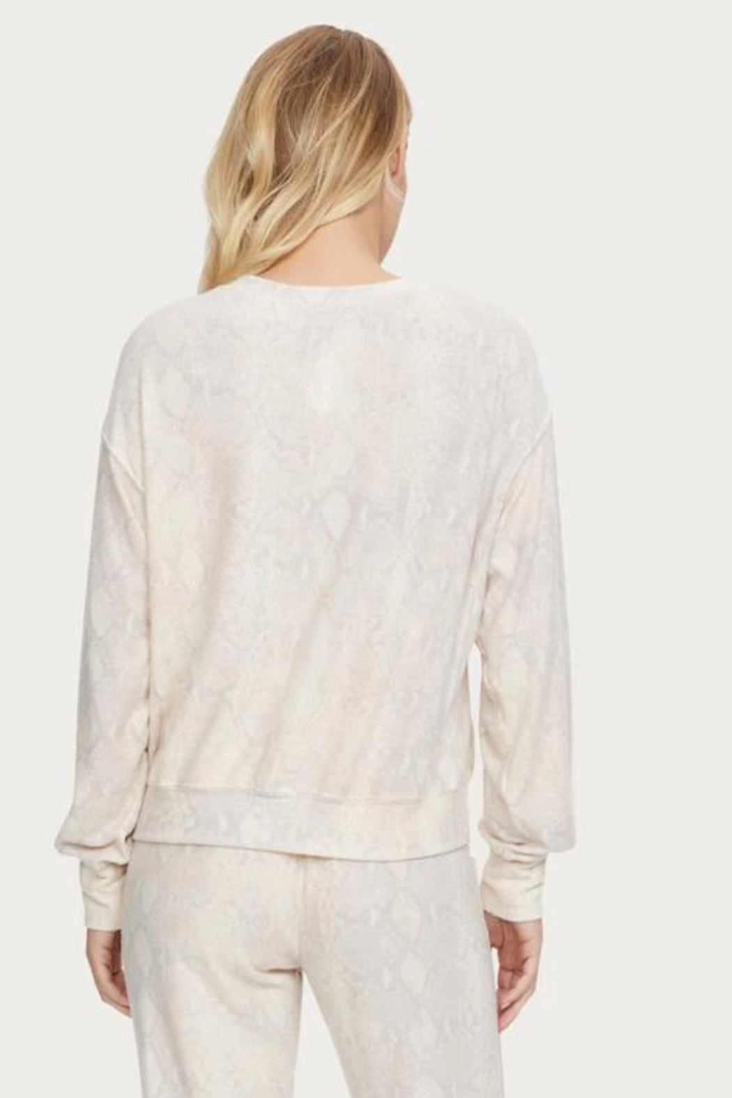 Michael Stars Gio Snake Skin Print Pullover - Back Cropped Image