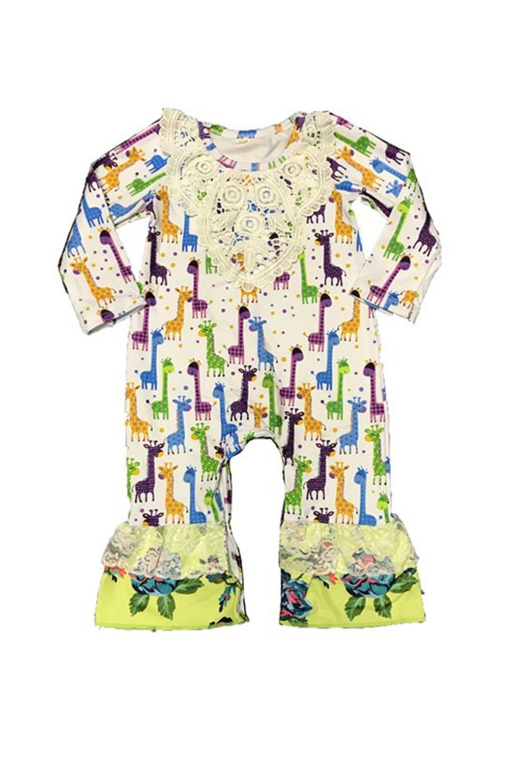 Lady Charm Giraffes Baby Romper - Front Cropped Image