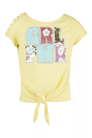 Beautees Girl Power Knot Front Top - Product Mini Image