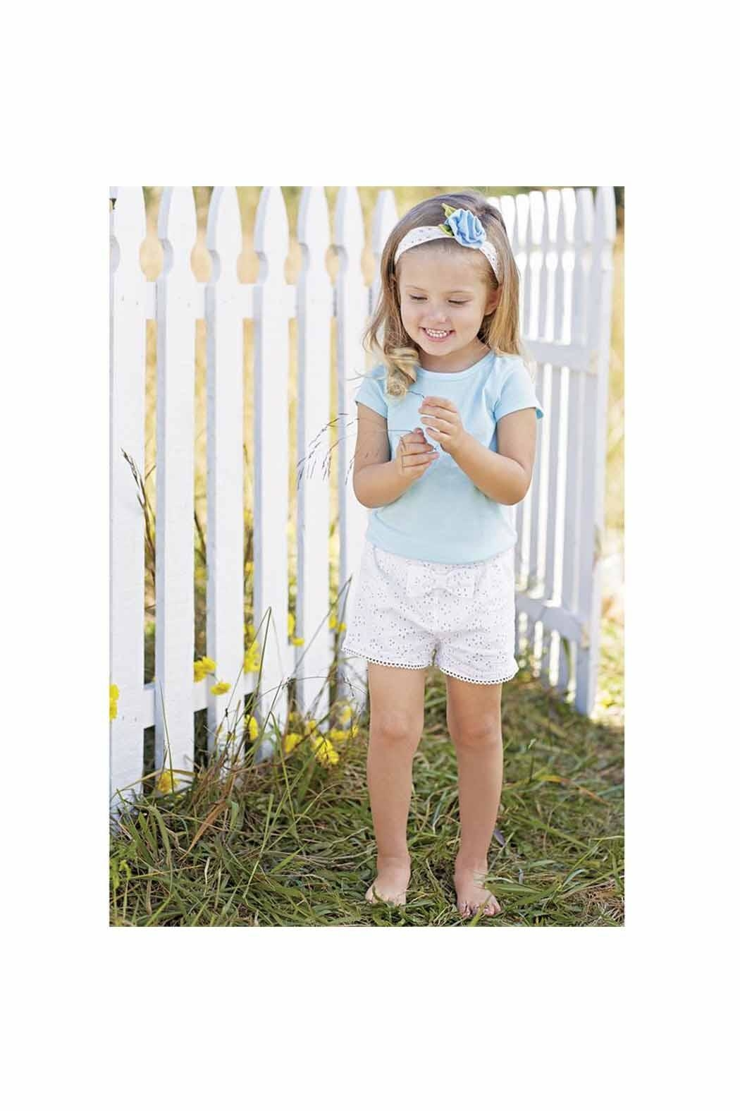 MUDPIE Girl's Eyelet Shorts - Front Cropped Image
