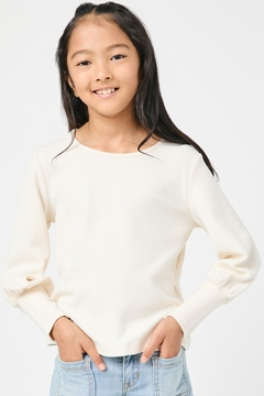 Hayden Los Angeles Girl's Textured Rib Exaggerated Cuff Knit Top - Product List Image