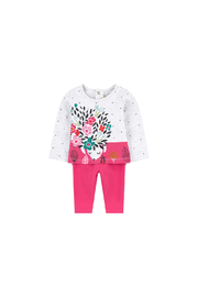 Catimini Girl T Shirt with Charming Print and Plain Leggings - Front cropped