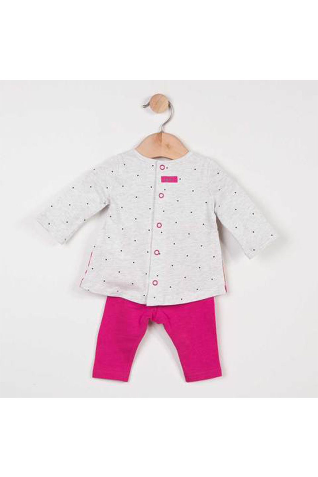 Catimini Girl T Shirt with Charming Print and Plain Leggings - Side Cropped Image