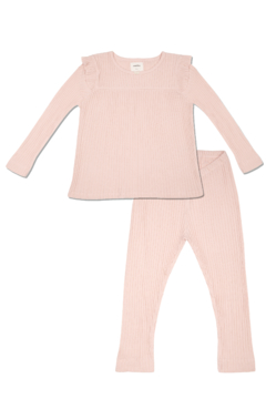 Shoptiques Product: Girls' 2-Piece Organic Cotton Long Sleeve Pointelle Pajama Set