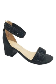 De Blossom Collection Girls Black Rhinestone Heels - Front cropped