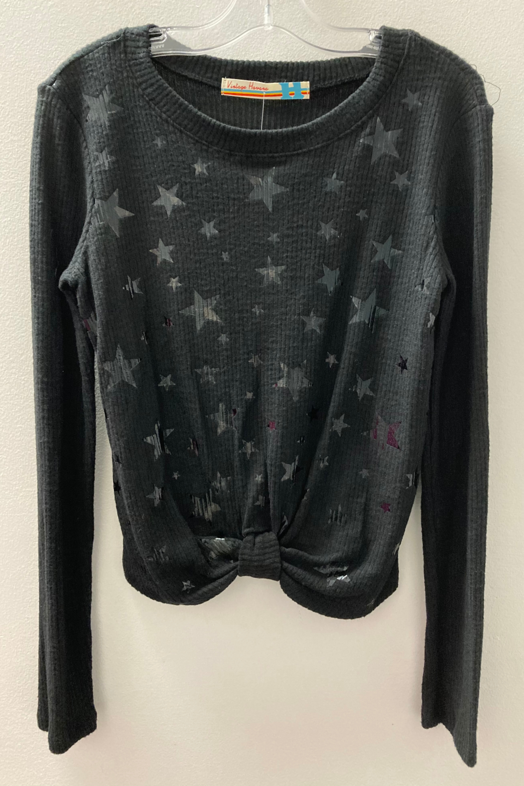 Vintage Havana GIRLS Black rib front knot top with Black Foil Stars - Front Cropped Image
