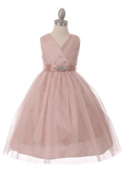 Cinderella Couture Girls Blush Glitter Tulle With Satin Belt Dress - Product Mini Image