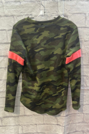 Vintage Havana GIRLS Camo L/S Thermal with pink stripe - Front full body