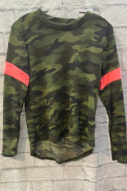 Vintage Havana GIRLS Camo L/S Thermal with pink stripe - Front cropped