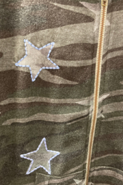 Vintage Havana GIRLS Camo with Embroidered Star full zip hoodie - Side cropped