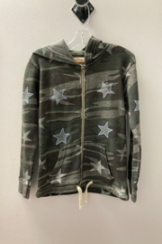 Vintage Havana GIRLS Camo with Embroidered Star full zip hoodie - Front cropped