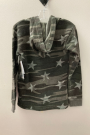 Vintage Havana GIRLS Camo with Embroidered Star full zip hoodie - Front full body