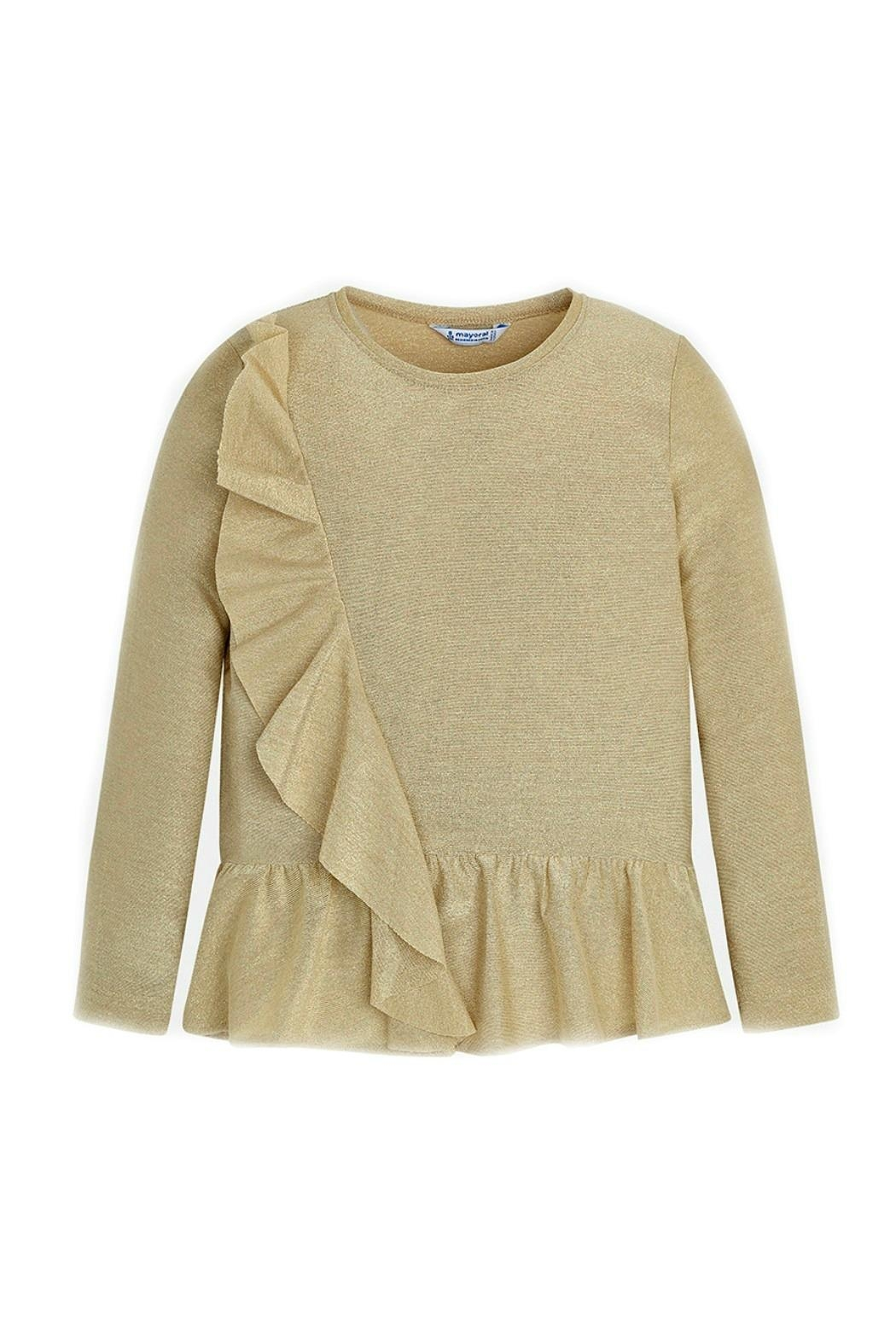 Mayoral Girls-Cascading-Ruffle-Metallic-Gold-Shimmer-Blouse - Front Cropped Image