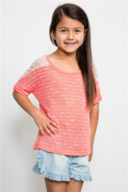 Kiddo Girls Coral Knit Short Sleeve Top with Mesh Shoulder - Product Mini Image