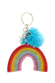 Bari Lynn Girls' Crystal Rainbow Keychain W/ Fur Pom Pom - Product Mini Image